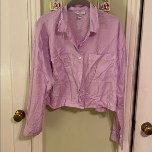 Cropped Wrinkled Lavender Blouse—worn once!